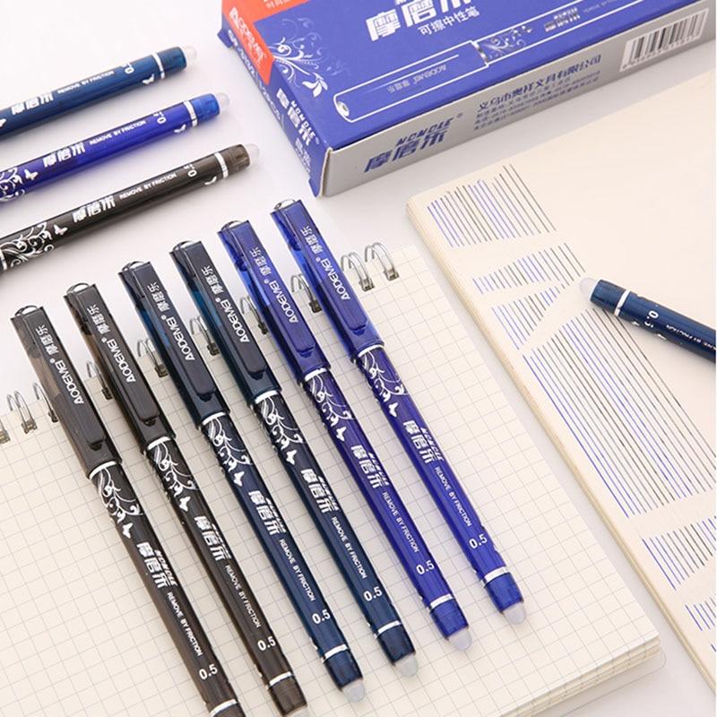 4 + 50 unids/set bolígrafo borrable de tinta azul negro rojo 0,5mm recargas bolígrafos de Gel para niños niñas regalos escuela Oficina suministros papelería