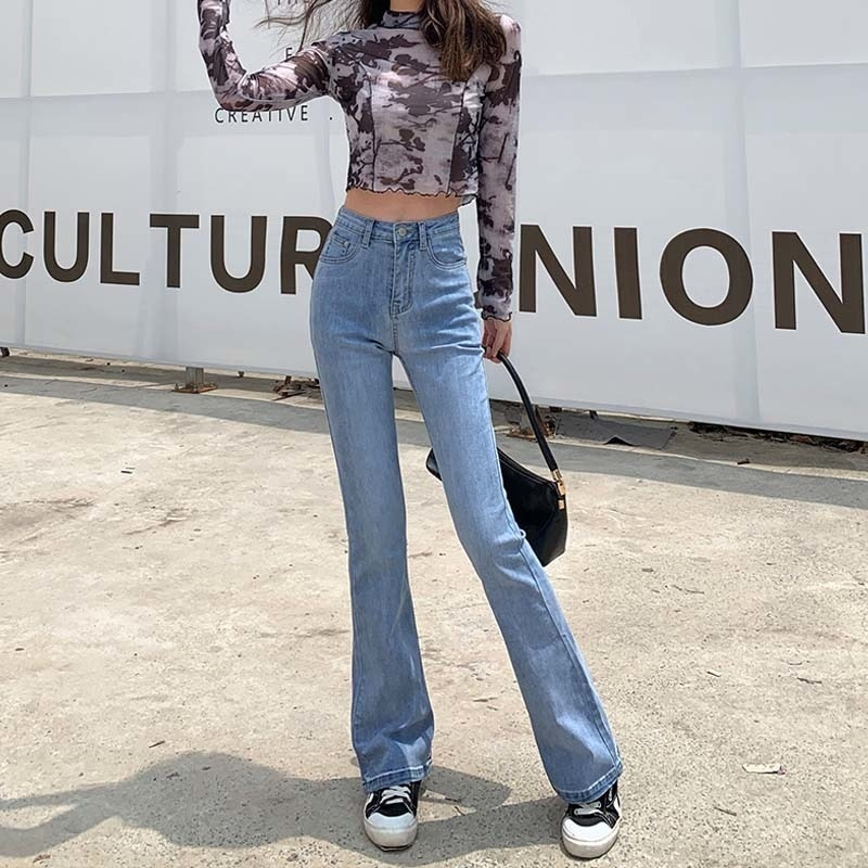 High Waist Stretch Jeans 2021 Spring and Autumn Slimming Slim Fit All-Matching Jeans Bell-Bottom Pan