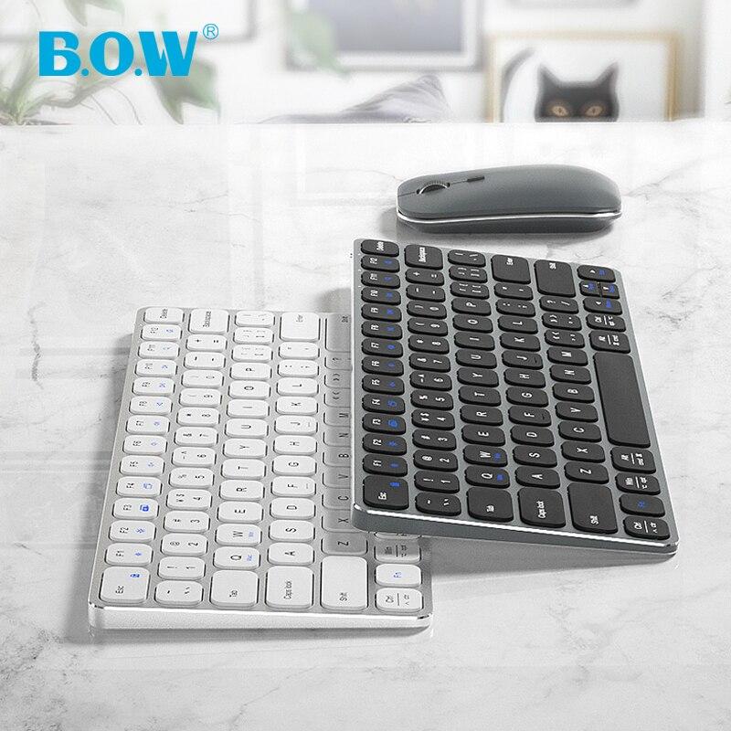 B.O.W لوحة مفاتيح ألومنيوم لاسلكية 2.4 جيجا هرتز ومنفذ شحن من النوع C ، لوحات مفاتيح قابلة لإعادة الشحن ماوس كومبو الهمس-كتابة ناعمة هادئة