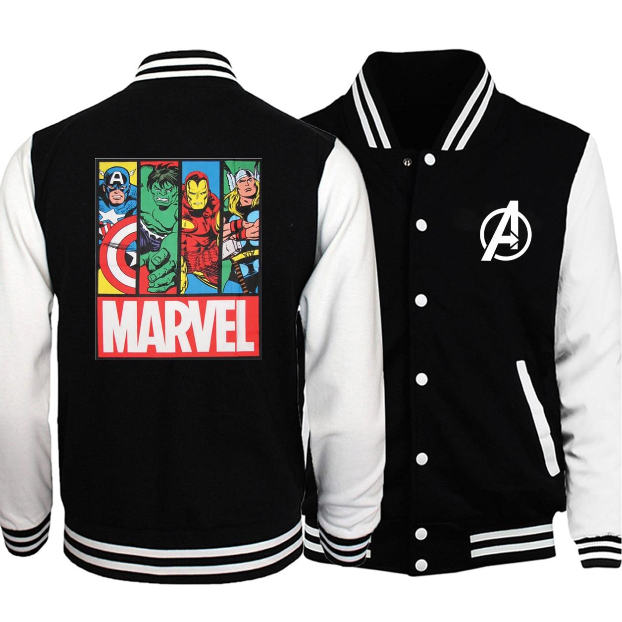Thor Hulk Superman Iron Man Superhero Baseball Men Jackets Coats Baseball uniform Autumn Fleece White Black Bomber Streetwear