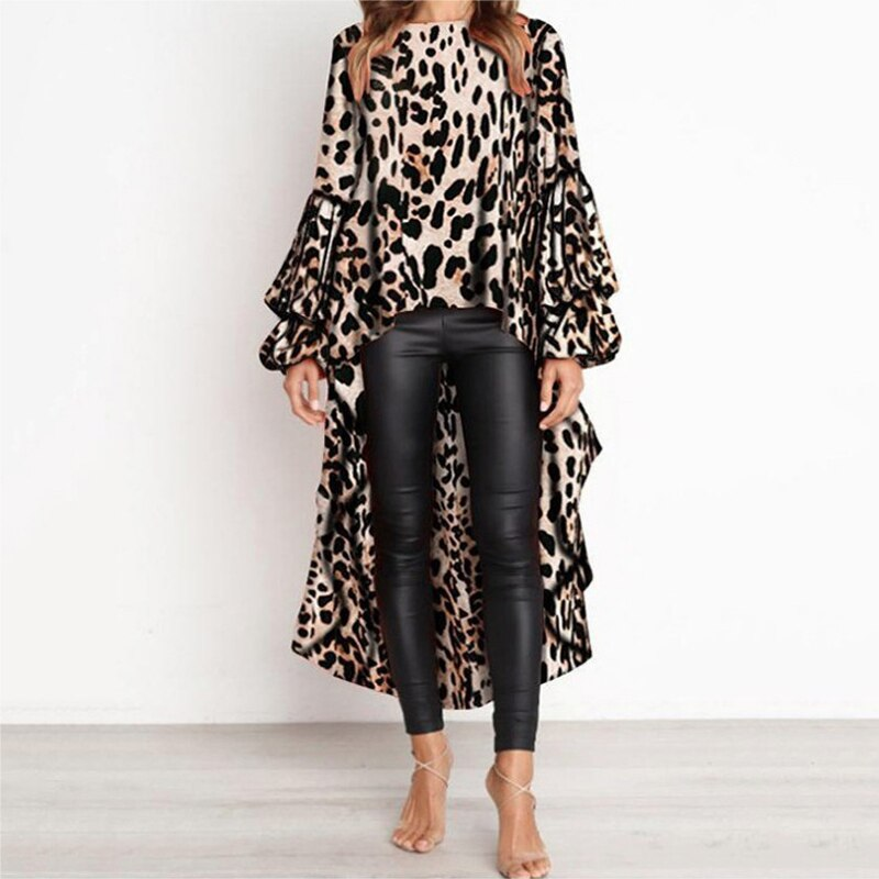 Otoño e Invierno moda sexy Leopardo de manga larga irregular casual mujer camiseta superior