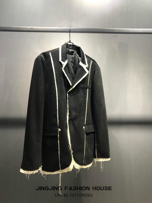 2019 degli uomini di falso in due tessuto e patchwork con due pulsanti oversize versione di lana oversize setole frangia