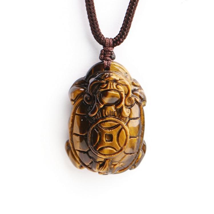 Colgante de ojo de tigre amarillo Natural collar de tortuga dragón chino...