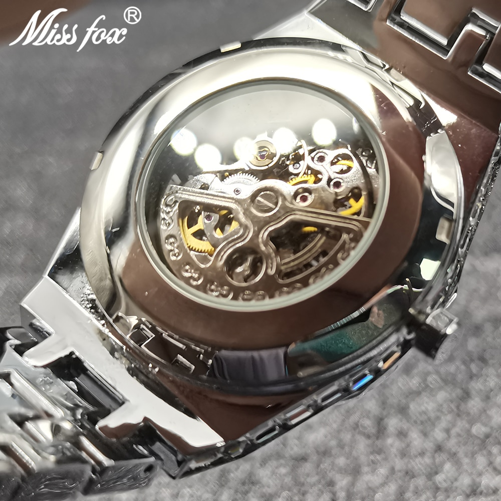 MISSFOX Hip Hop Mechanical Mens Watches Automatic Luxury Iced Out Stainless Steel Hollow Wristwatch Male Square Diamond Jewelry enlarge