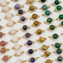 Luxury Natural Stone Open Rings for Women Girls Handmade 8mm Amethyst Agate Tigereye Wedding Enegage