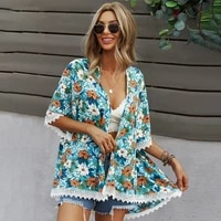 boho chic mujer bohemian ponchos and capes floral print lacework cardigan sun protection cover ups for swimwear women cape coat