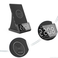 wireless charging speaker alarm clock led alarm clock with wireless charging dock stand fm radio usb fast charger