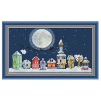 christmas street scenery patterns counted cross stitch 11ct 14ct diy cross stitch kits embroidery needlework sets home decor