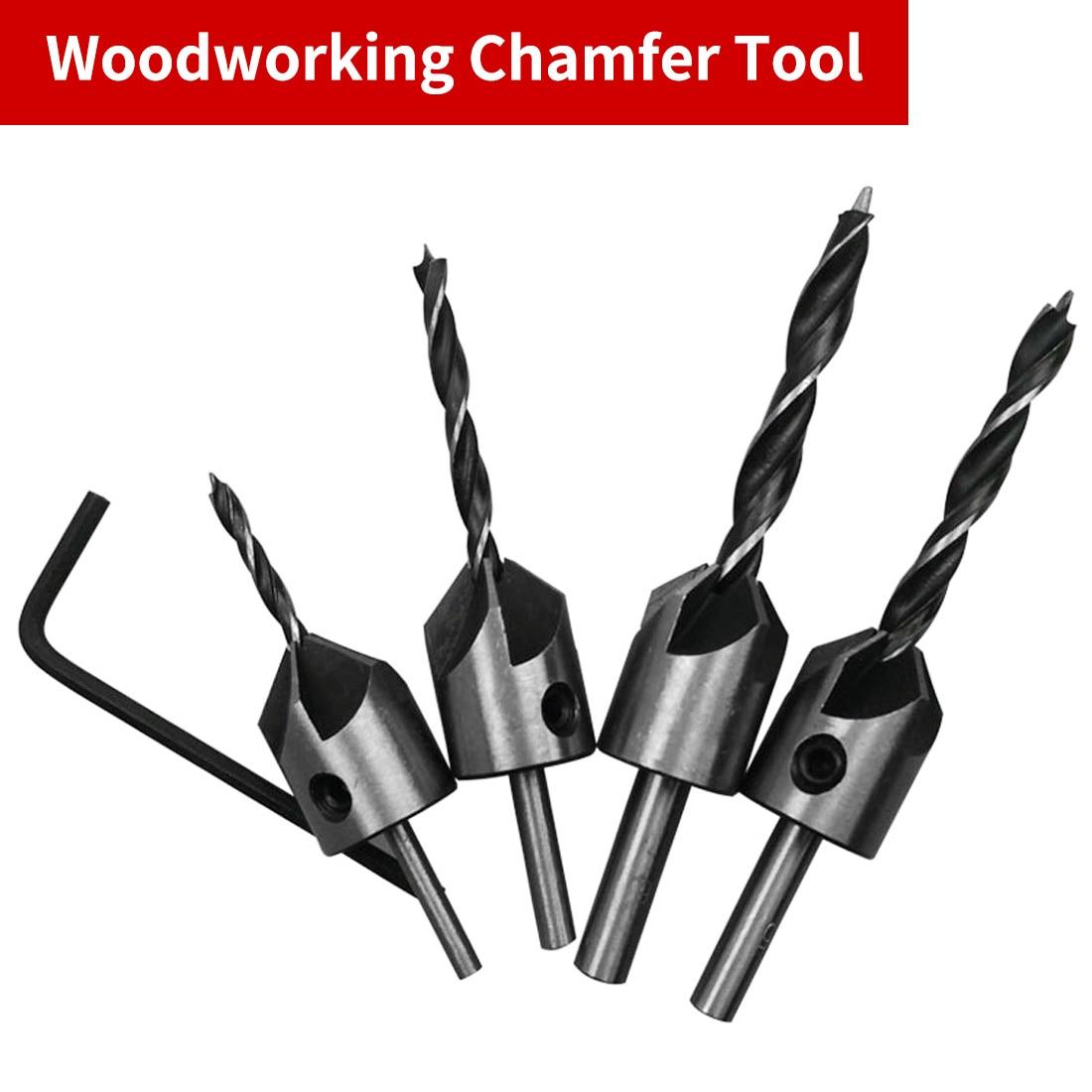 4pcs HSS 5 Flute Countersink Drill Bit Set Drill Press Set Chamfer Reamer Woodworking Power Tools 3mm 4mm 5mm 6mm