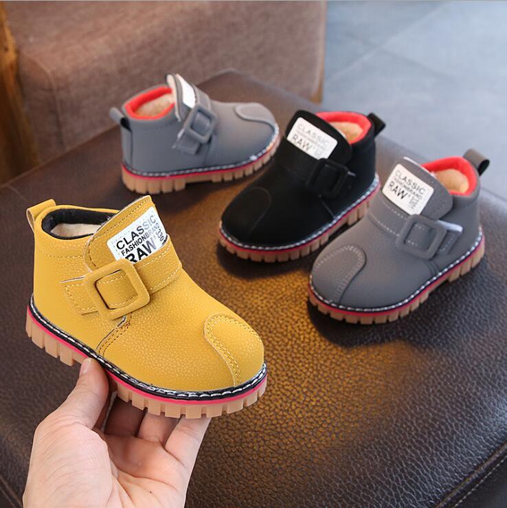 Otoño Invierno nuevos zapatos de moda para niños chico niñas niños tobillo deporte botas cortas niñas niños botas casuales 1-3 años de edad