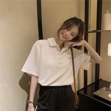 New Products in Stock Plus Size Women's Clothing Korean Simple Retro Texture Polo Shirt Loose Ve