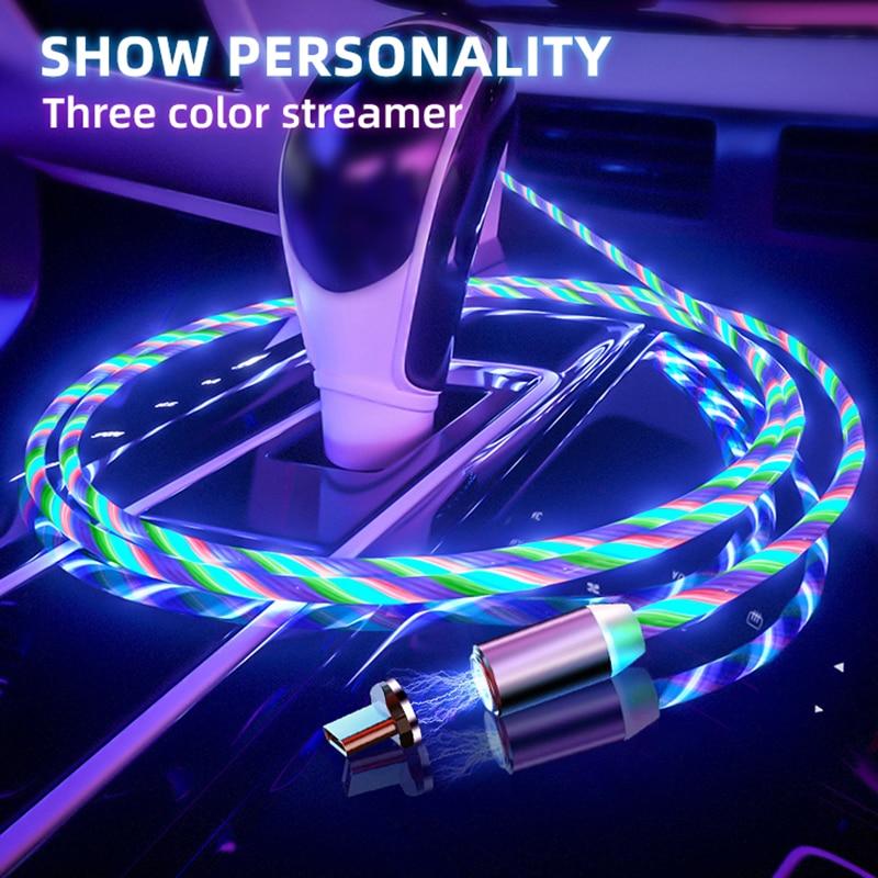 Cable magnético tipo C Micro USB Cable de iluminación LED para cargador de iPhone Cable de carga Cabo para Xiaomi 8 Redmi Note 7 Huawei