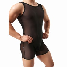 Bodysuits para hombre hielo seda Ultra-talladora delgada corsés elásticos eróticos transparentes monos cortos Gay Lingerie Catsuit Undershirts