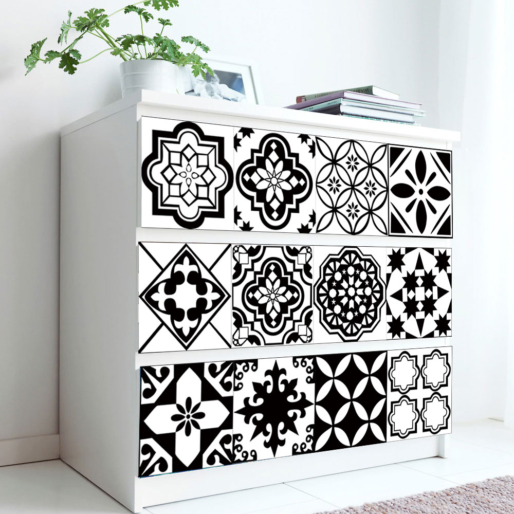 Черная и белая керамическая плитка, настенная наклейка на пол, кухня, ванная комната, домашний декор, художественная роспись, водостойкие на...
