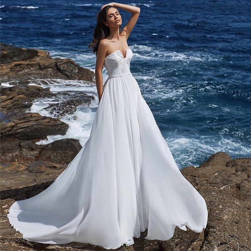 Simple White Cheap Wedding Dress Chiffon Beach Bridal Dresses 2021 Vestido de Noiva A Line Summer Wedding Gowns Boho Pleated