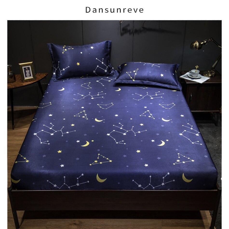 Dansunreve 3 قطعة ملاءات الصيف مع المخدة النجوم المطبوعة المجهزة ورقة مرونة الملكة حجم المفرش مرتبة بوليستر غطاء