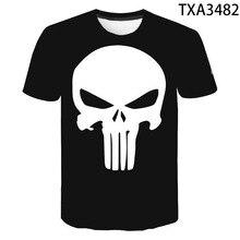 Novedad de verano, camiseta a la moda de Punisher para hombres y mujeres, camiseta de manga corta con estampado 3D informal para niños y niñas, camisetas geniales