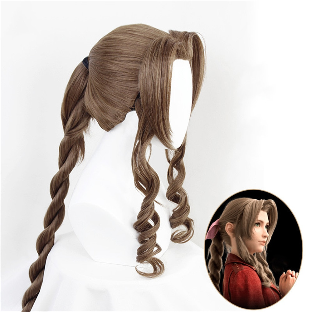 Final Fantasy VII Cosplay FF7 Aerith Gainsborough Wigs Cosplay Heat Resistant Synthetic Hair Brown C