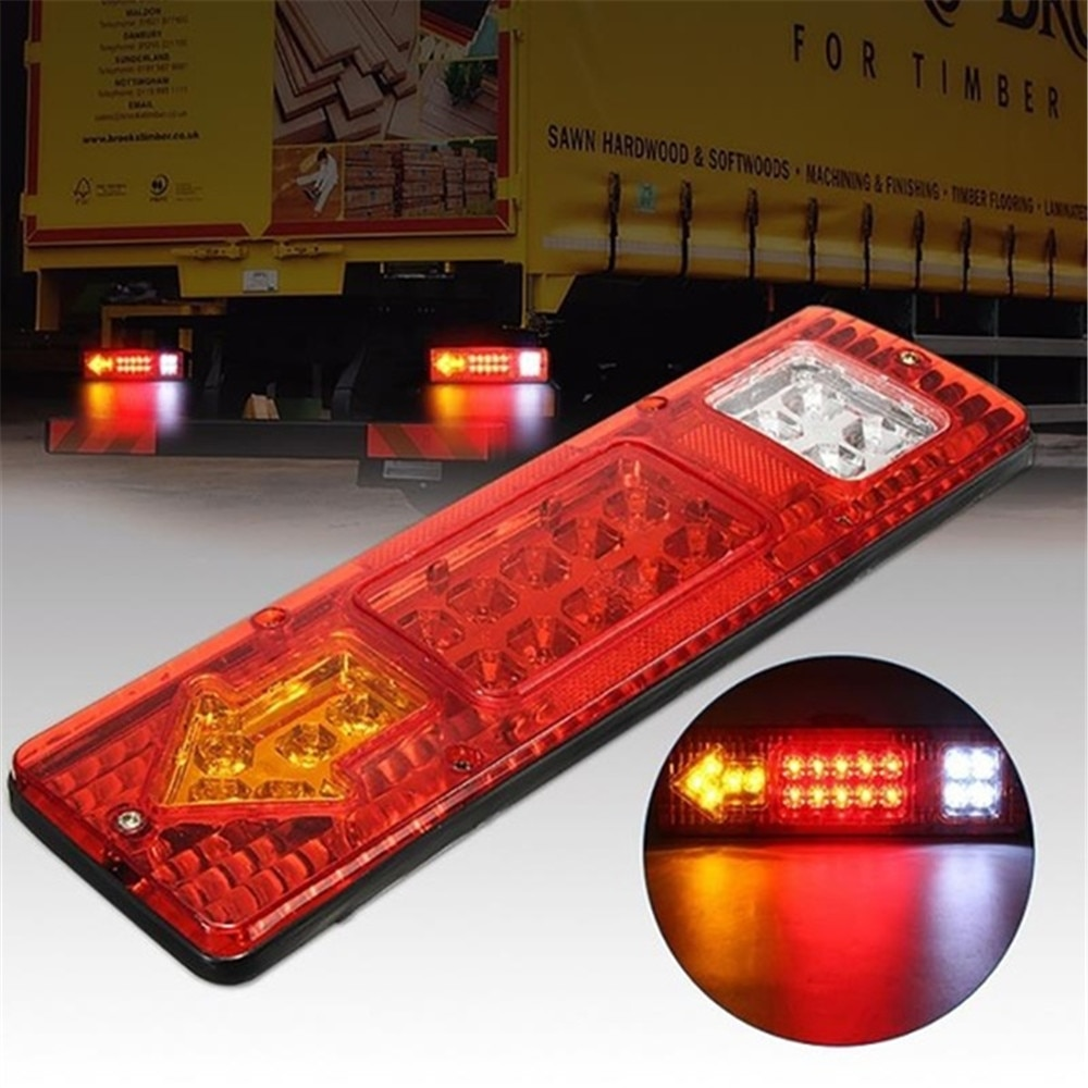 1Pc 24V 19 LED Caravan Lighting Trailer Truck Light Caravan Truck Tail Light Turn Signal Reverse Brake Rear Lamp Taillights Red