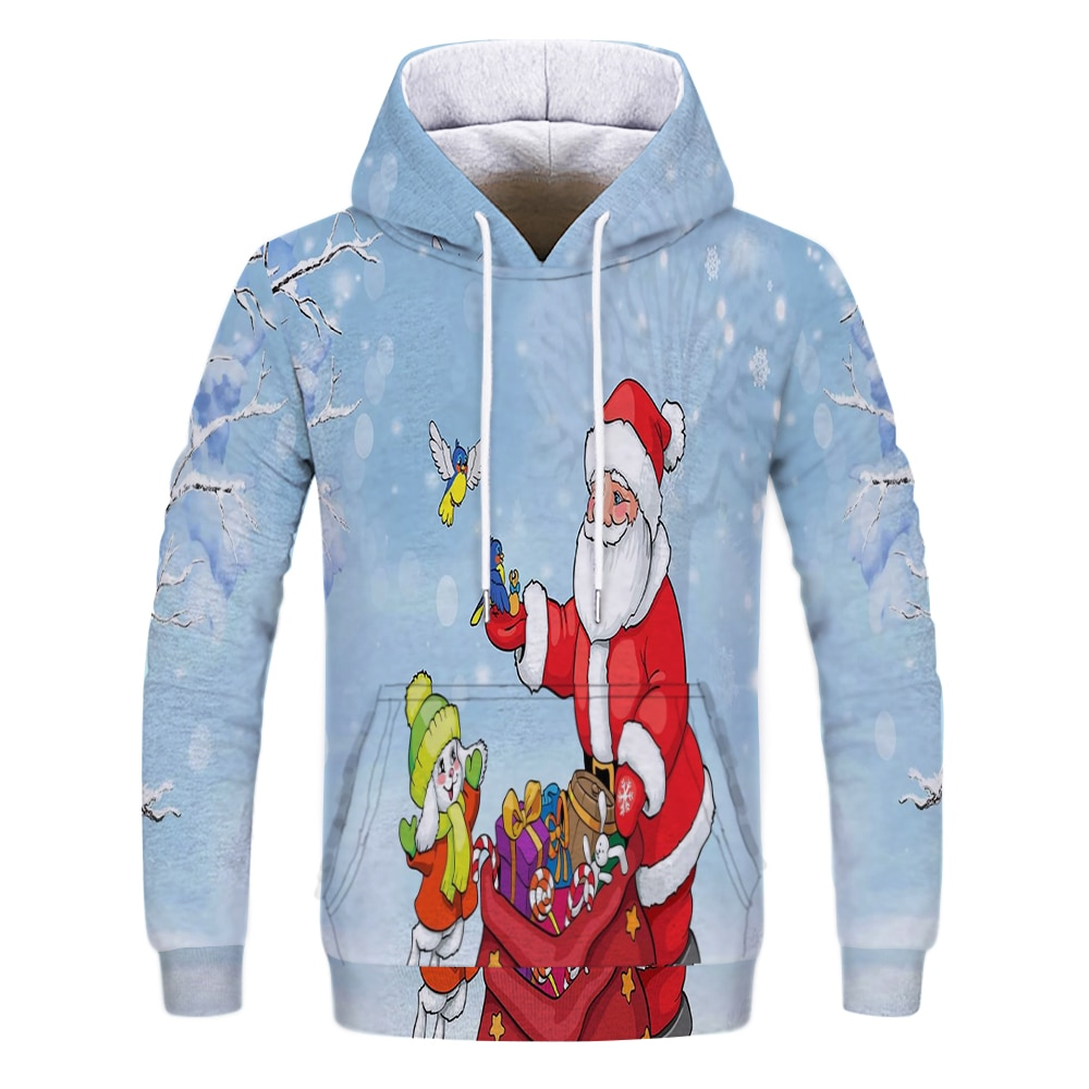 New Autumn and Winter 3D Hoodie Santa Claus Mens Womens Fashion Casual Clothing Pullover