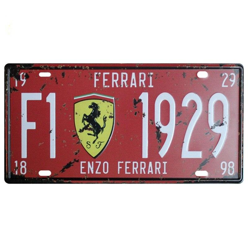 Автомобильная табличка США винтажная металлическая жестяная вывеска автомобильный номерной знак табличка Плакат Бар Клуб номерной знак рамка держатель для Ferrari наклейки на авто для автомобиля