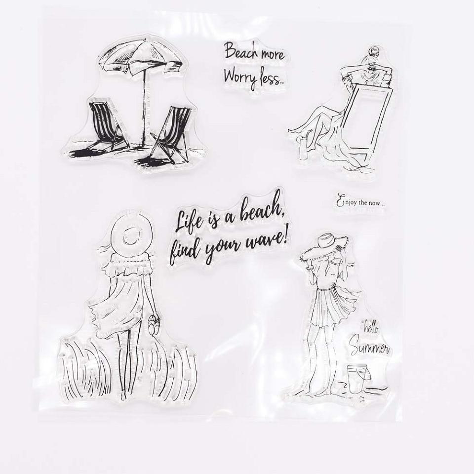 14*14 playa y vestido largo chica artesanía transparente sello de silicona para Scrapbooking DIY álbum de fotos decorativo claro sellos hoja