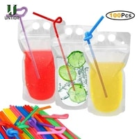 untior magic drink pouches with straw resealable ice drink pouches smoothie bags with drinking straws reusable juice pouch