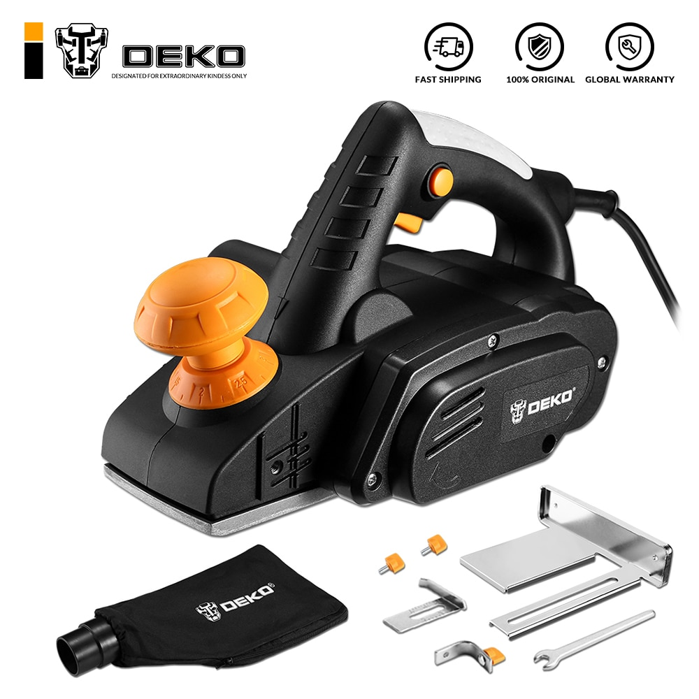 DEKO DKEP900 220V 900W Electric Planer Power Tool Plane Hand Held For Wood Cutting With Accessories