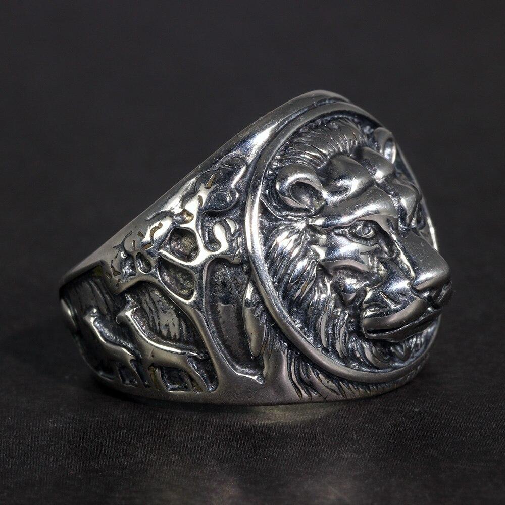 Anillo de León sólida plata 925 para hombre, anillo de ciclista Retro Steampunk Vintage para hombre, joyería para hombre con grabado de árboles
