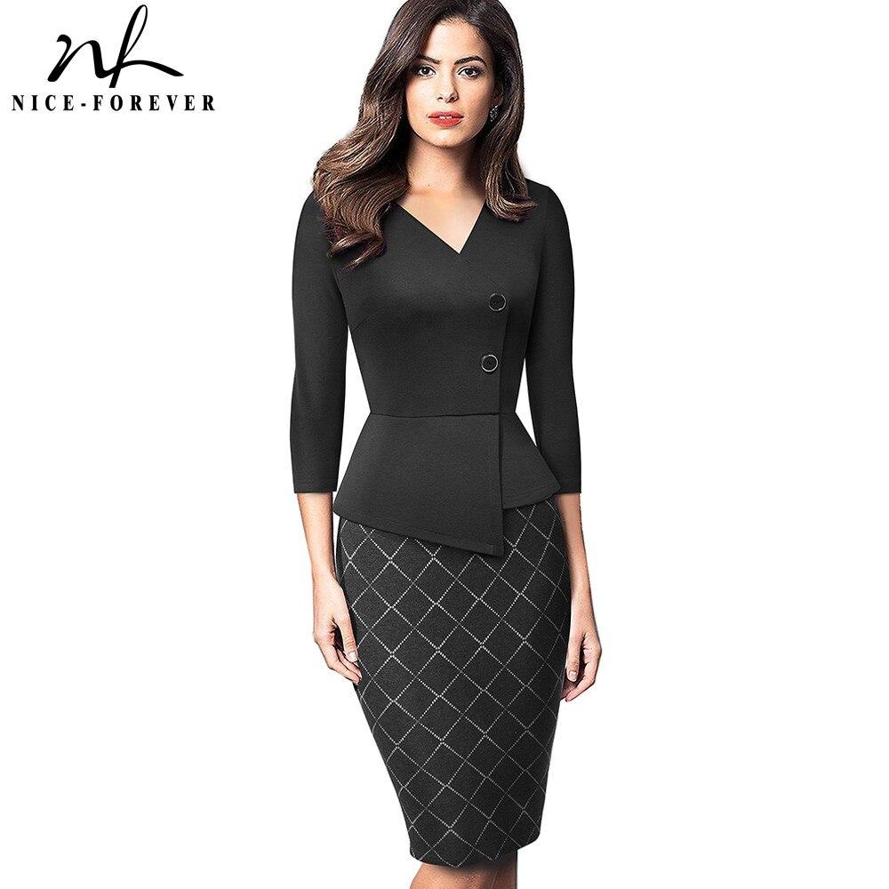 Nice-forever almazuela elegante con botón de trabajo Oficina vestidos de negocios Formal Bodycon mujeres vestido de invierno B564
