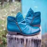 2020 fashion ankle boots women shoes zipper low square heel winter snow boots vintage punk ankle boots shoes ladies shoes size43