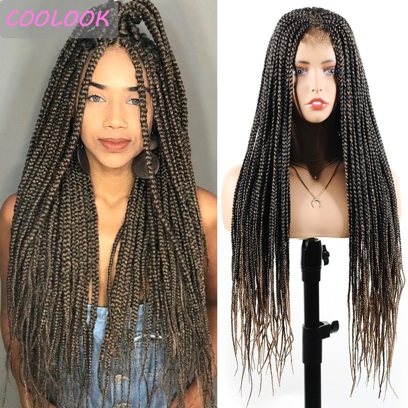30'' Long Synthetic Brown Box Braided Lace Front Wig Box Braid Lace Wigs for Black Women Heat Resistant False Hair Cosplay Wigs
