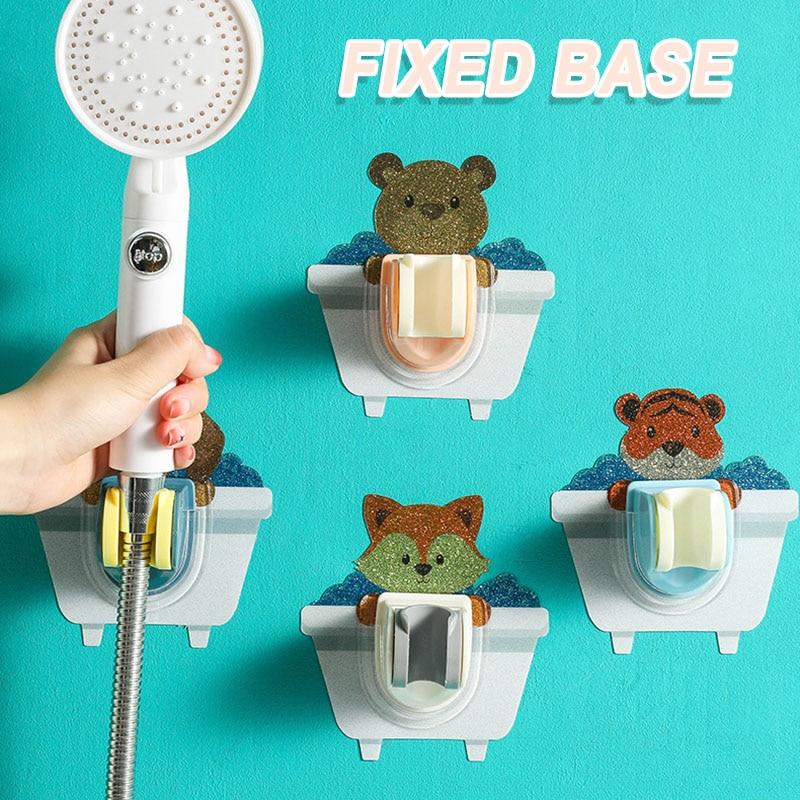 Adhesive Shower Holder Bracket Up and Down Tiltable Adjustable Cartoon Shower Stand Punch-free for Bathroom K888