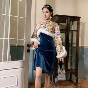 Qipao Traditional Chinese Oriental Dress Women Cheongsam Modern Chinese Dress Qi Pao Thick Female Winter Sexy Asian Dress FF2555