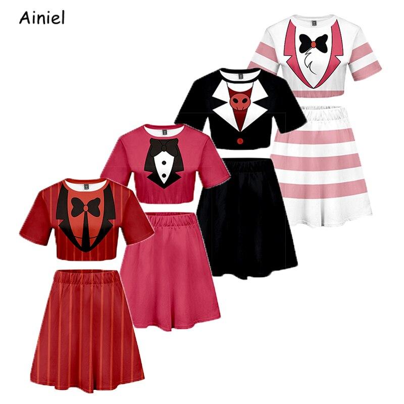 Anime Hazbin Cosplay Hotel koszula spódnica Sport kostium kostium koszulka sukienka Charlie Alastor koszulki topy T koszula koszulki Disfraz kobiety
