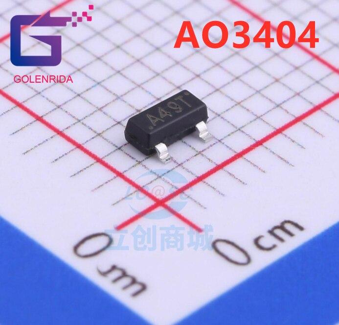 50 pçs/lote AO3404 SOT-23-3 A49T MOS FET transistor