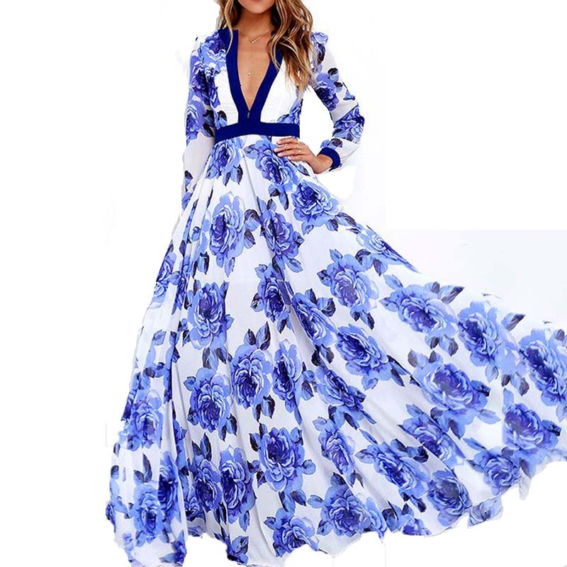 Hot Sale Deep V Neck Full Sleeve Dress Blue Print Flower Bohemian Dresses for Women Fashion Casual 3XL Large Sweet Long