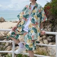 hawaiian mens shirt set printing 2021 summer new beach casual loose hong kong style youth floral shirts shorts two piece