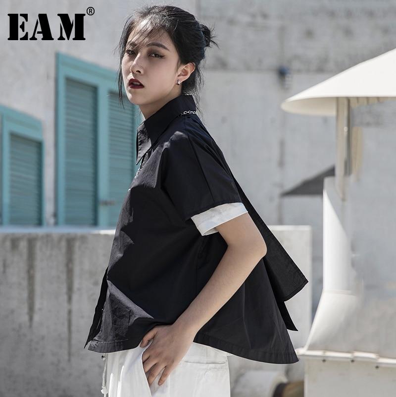 [EAM] נשים שחור סימטרי פיצול גדול גודל חולצה חדש דש קצר שרוול Loose Fit חולצה אופנה אביב קיץ 2020 1S681