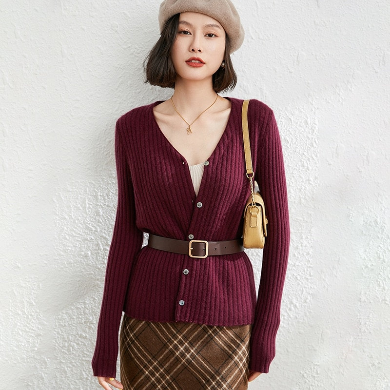 100% Goat Cashmere Knitted High Quality  2021 New Arrival Winter/ Autumn V-Neck Women Sweaters Cardigans Fashion Female Jackets enlarge