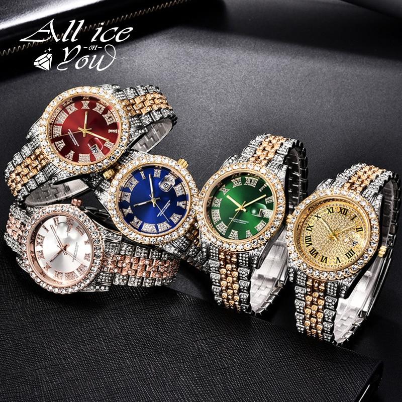 Часы ALLICEONYOU с фианитами, модные украшения в стиле хип-хоп, браслет из нержавеющей стали с бриллиантами, золотистого и серебристого цвета, подарок