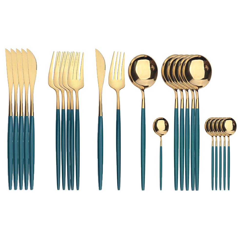 24 قطعة الفولاذ المقاوم للصدأ السكاكين أواني الطعام مجموعة الأخضر الذهب عيد الميلاد ملعقة شوكة سكين الغربية Cutleri الفضيات أدوات المائدة لوازم