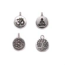 10 adet/grup antika çakra Charm Yoga OM buda Lotus Charm kolye Diy takı yapımı için bulgular bilezik aksesuar