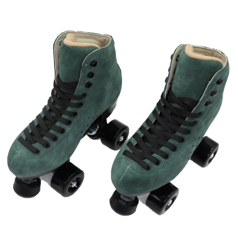 Jasper зеленый четырехколесный ролик, замша, кожа, двойная линия, скейт, для мужчин и женщин, профессиональный спорт, скейт, ретро, 4 колеса, пати...