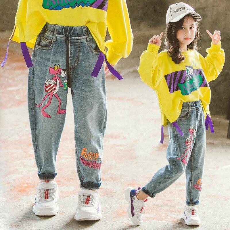 Pantalones vaqueros para niños, pantalones vaqueros con Graffiti de dibujos animados para niñas, pantalones vaqueros con estampado de Pantera Rosa, pantalones de cintura elástica para niñas, pantalones vaqueros 4 6 8 11Y