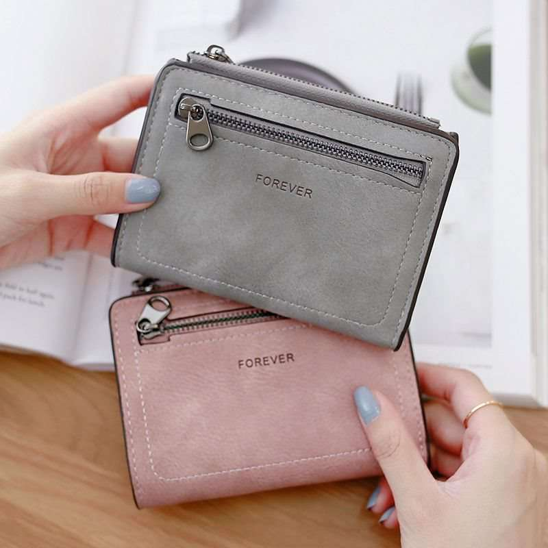 Women's Wallet Leather Purses Fashion Brand Luxury Soft Letter Short Zipper Cute 5 Color Multifunctional Mini Wallet Women Purse