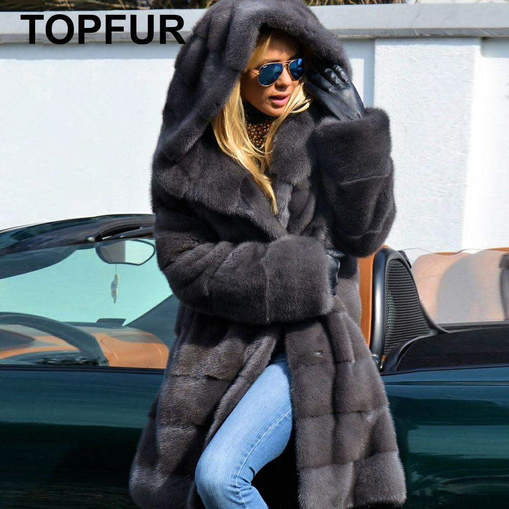 Topالفراء موضة معطف رمادي داكن مع الفراء هود معطف الفرو الحقيقي النساء الشتاء معطف فرو منك الطبيعي متوسطة طويلة القياسية الملابس