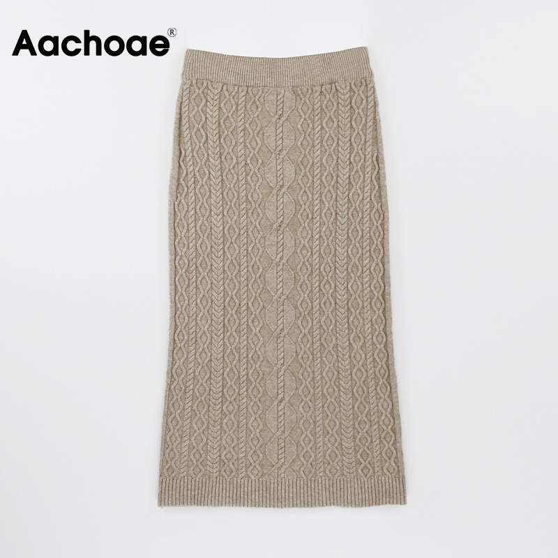 Aachoae couleur unie élégant tricoté Midi jupe femmes automne hiver Twist jupes taille haute Chic jupe Faldas Mujer Moda 2020