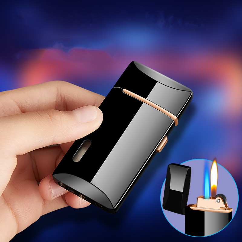 Jet Gas Lighter Two Flame Grinding Torch Turbo Flint Lighter Free Fire Butane Metal Windproof Cigarette Cigar Lighter Inflated