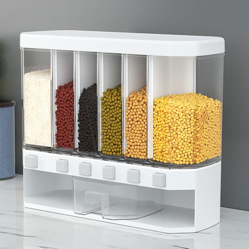 1 قطعة جدار شنت منفصلة الأرز دلو الحبوب موزع رطوبة البلاستيك التلقائي رفوف مختومة القياس الغذاء تخزين مربع